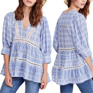 [Free People] NWT Time Out Lace Tunic Blue Medium